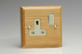 Varilight Kilnwood 1 Gang 13A Switched Socket Oak White Insert XK4OW